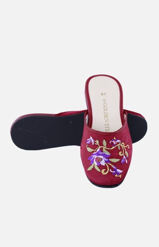 Silk Embroidered Slipper (Lotus Flower)