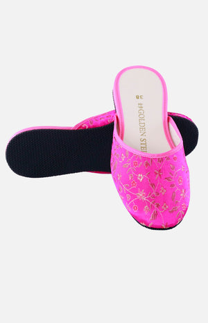 Silk Embroidered Slipper (Golden Small Floral)