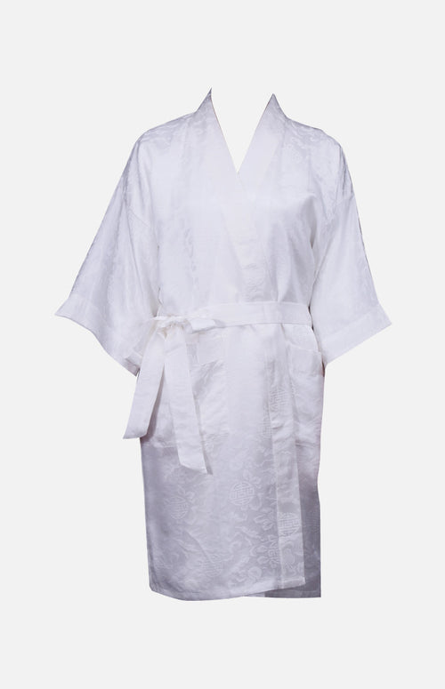 Silk Short Robe with Chinese Auspicious Pattern