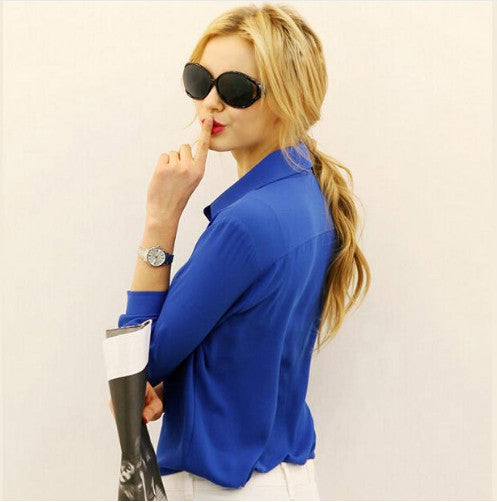 Women Shirt Spring Summer - European and American Long-Sleeve Blouse – Five Colors