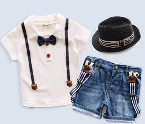Kids Boys Short Sleeve T-Shirt + Denim