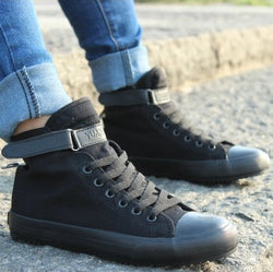 Men's High-Top Lace-Up Canvas Shoes