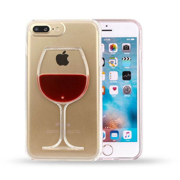 iPhone Case 3D Liquid Red Wine Glass Design