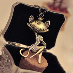 Women's Rhinestone Crystal Sexy Cat Girl Pendant Necklace