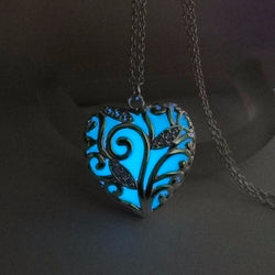 Glow In the Dark Heart Necklace Pendant
