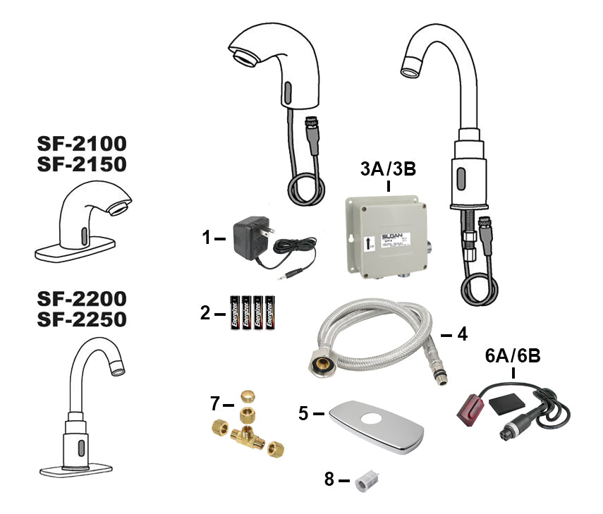 Sloan Electronic Faucet Parts SF-2100, SF-2150, SF-2200, and