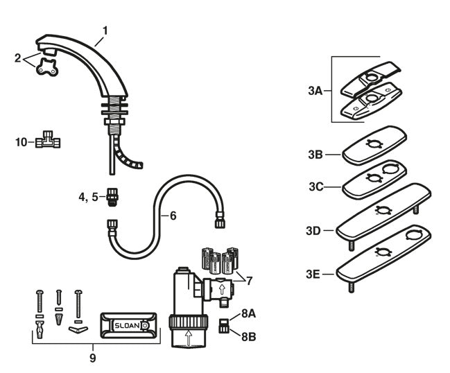 Sloan EBF-85 & EBF-187 Faucet Parts Diagram & Troubleshooting Guide ...