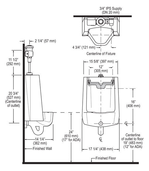Urinal w/ Royal Side Mount Operator - 0.25 GPF