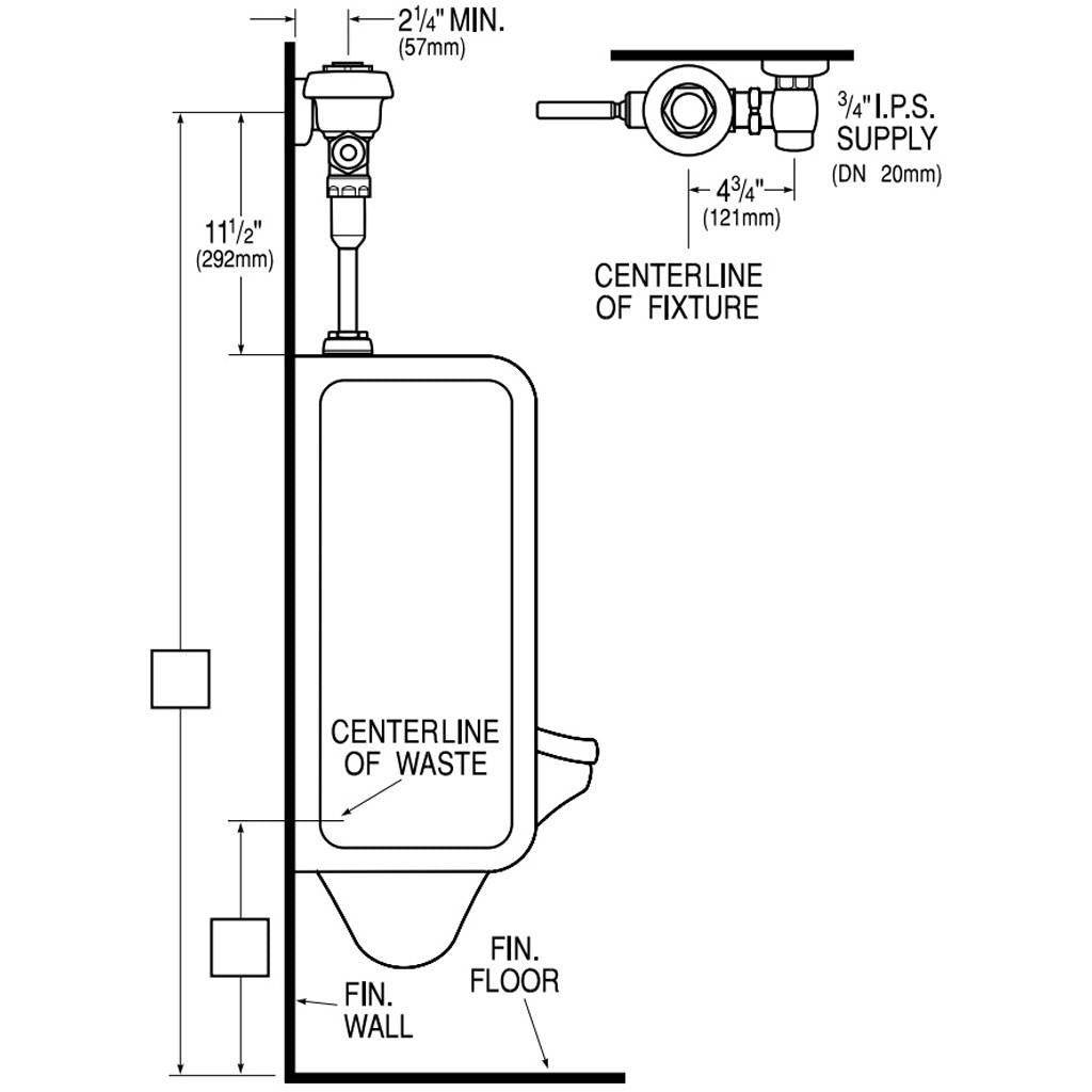 Urinal Royal Flushometer w/ Antimicrobial Handle 1.5 GPF