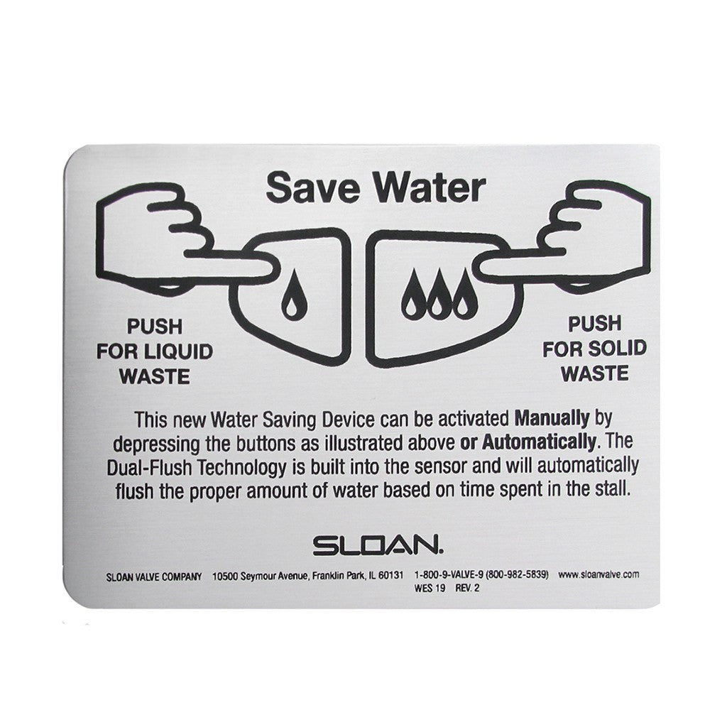 Sloan Dual Flush Instruction Plate WES19