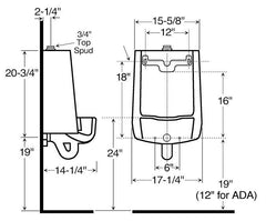 Sloan SU1006 Urinal Rough In dimensions