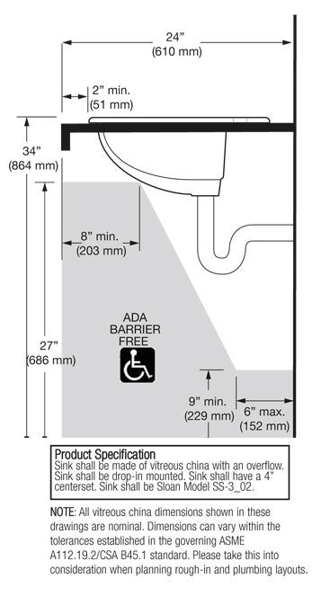 "Oval - Vitreous China Lavatory - 4"" Centers Drop-In"