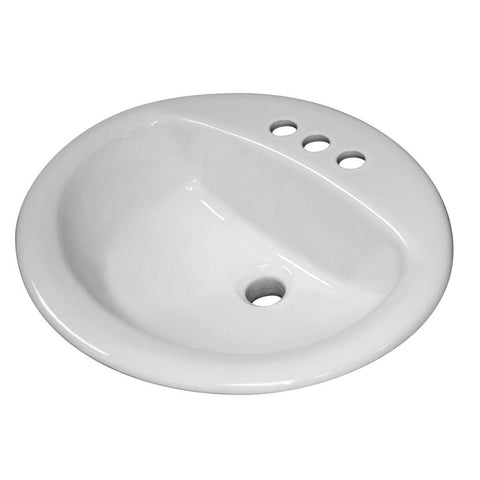 "Vitreous China Lavatory Oval with 4"" Centers"