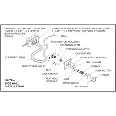 Push Button Actuator - Hydraulic Flushometer Side Wall Variant