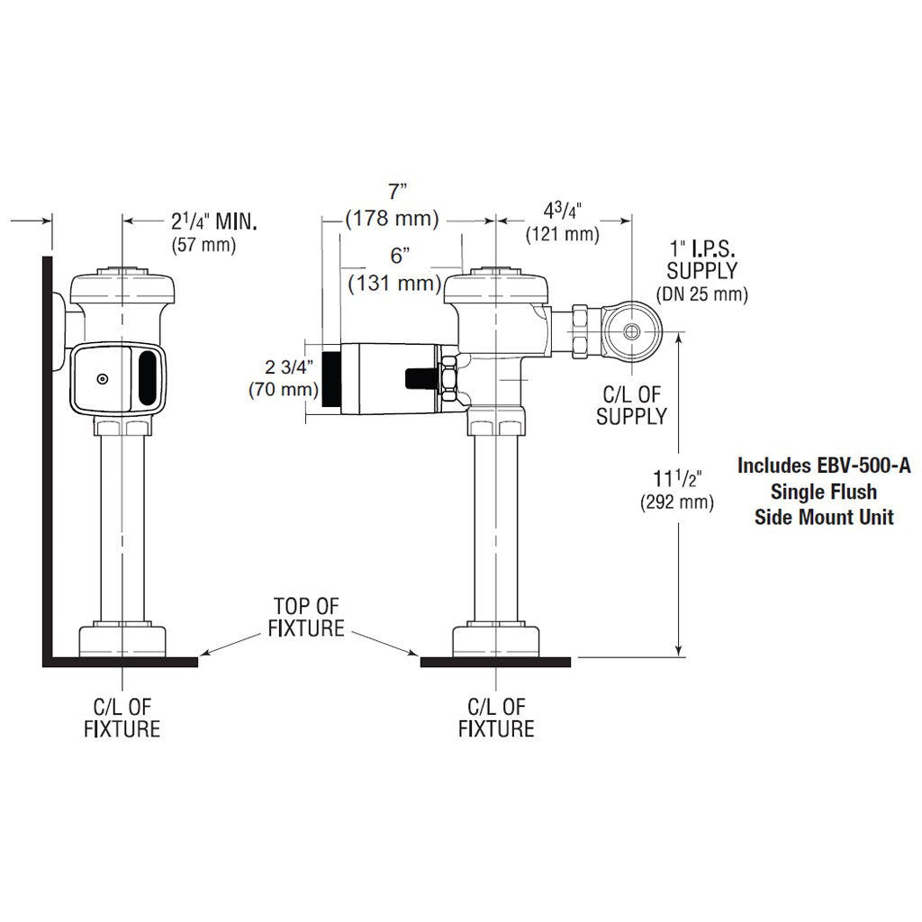 Side Mount Single Flush - Closet 1.28 GPF - Sloan Model