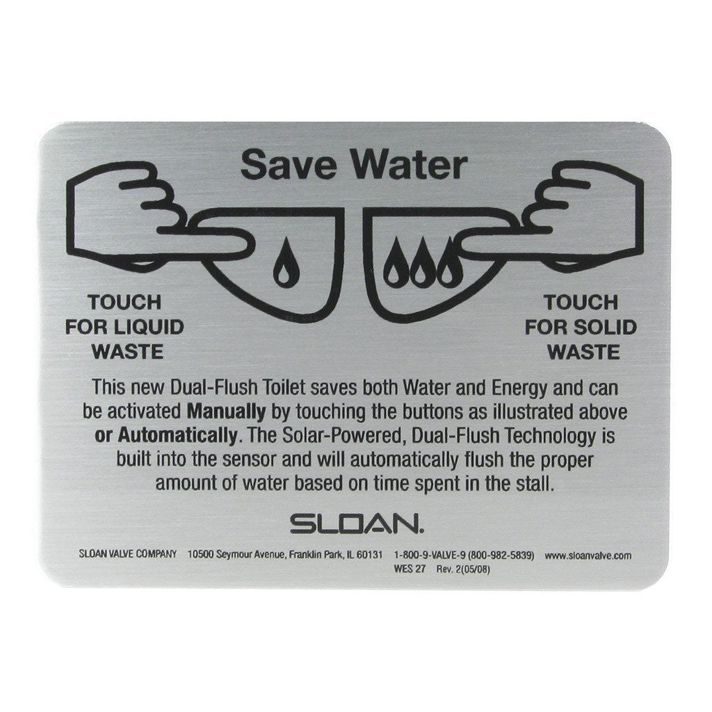 sloan dual flush directions plate