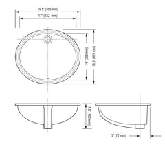 Oval - Vitreous China Lavatory Undermount