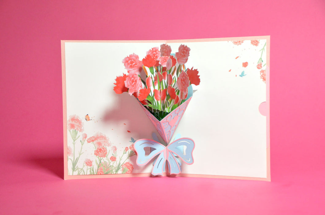 Bunch of Pink Flowers Pop-Up 3D Card