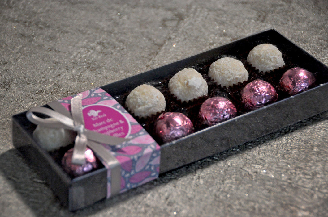 Marc de Champagne Truffles & Raspberry Truffles Box of 12