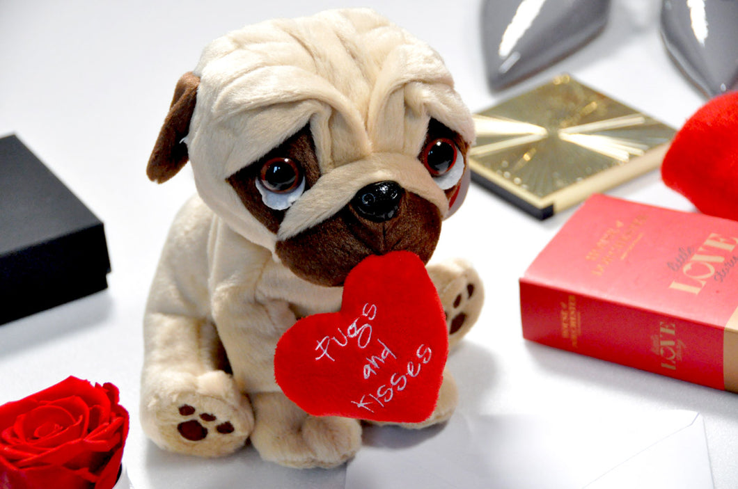 Hearts and Kisses Pug Soft Toy - 20cm