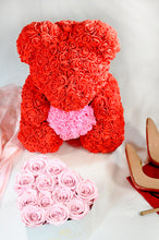 heart rose teddy bear, red pink heart next day delivery london