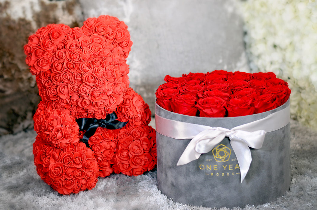 Rose Teddy Bear Indulgent Suede Box.