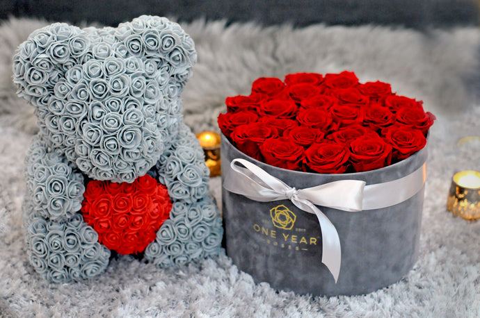 grey rose teddy bear with red heart gift box london