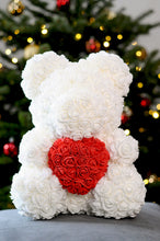 white rose teddy bear red heart , bear made of roses
