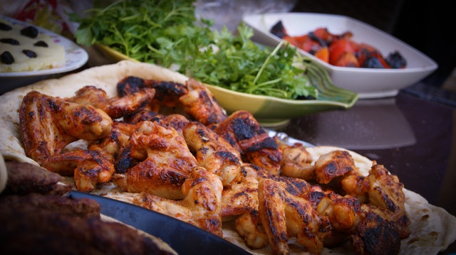 grilled chicken and greens