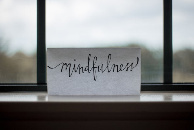 mindfulness spelled out on a window