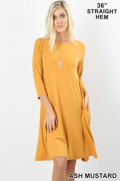 3/4 Sleeve Tee Shirt Dress
