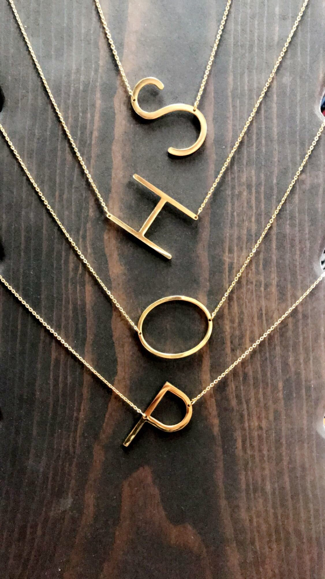 Side Ways Initial Necklace