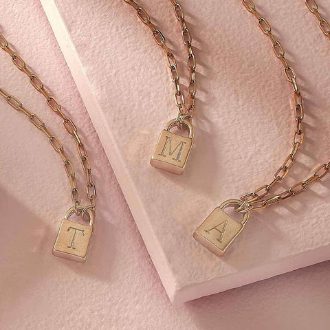 Initial Padlock Necklace