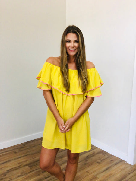 Off Shoulder Dress Mustard *FINAL SALE*