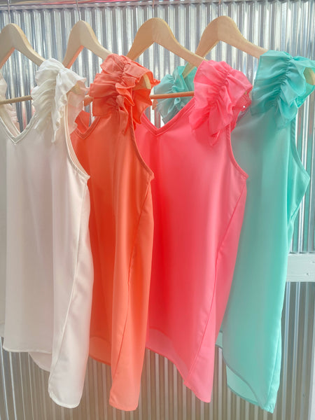 Daily Deal Ruffle Tank *final sale*
