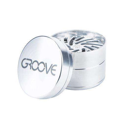 4-Piece Aerospaced GROOVE Grinder - Silver Open