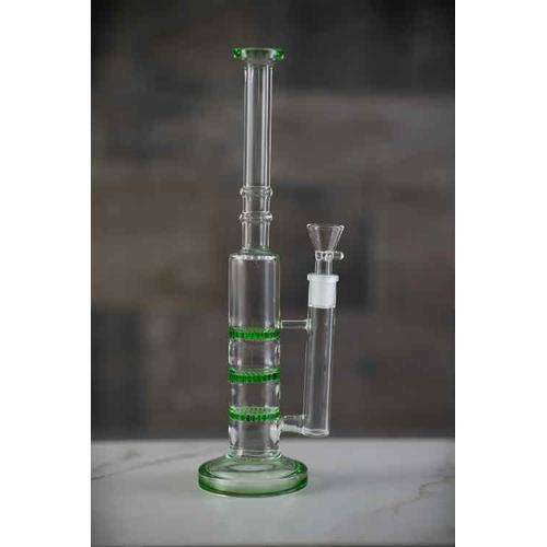Boo Glass Triple Honeycomb Perc Skinny Water Pipe - standing