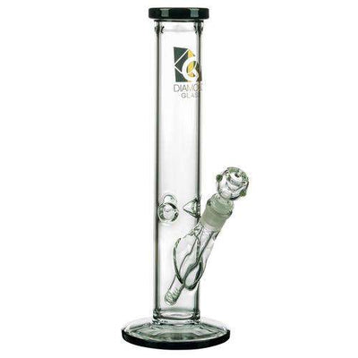 "Diamond Glass 13"" Classic Straight Tube Black"