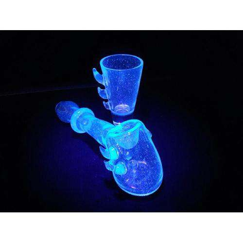Glow-In-The-Dark Hammer Pipe & Shot Glass Set - Glowing!