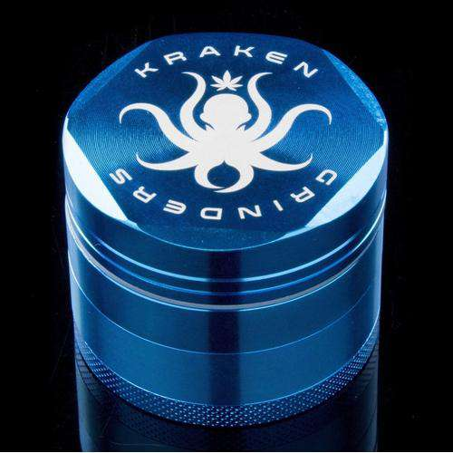 "Kraken Grinders - 2.5"" Hex Ridge 4-Piece with Pollen Screen - 2.5 Inches / Light Blue"