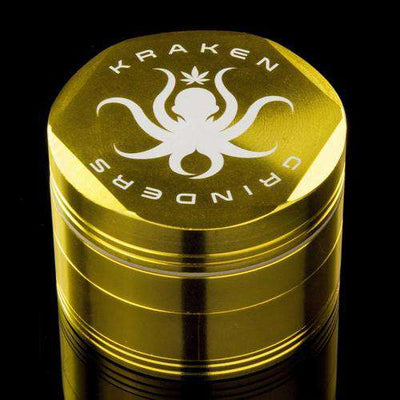 "Kraken Grinders - 2.5"" Hex Ridge 4-Piece with Pollen Screen - 2.5 Inches / Gold"