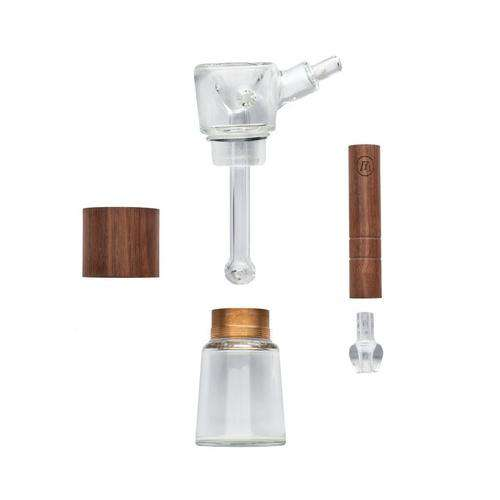 Marley Glass and Walnut Wood Bubbler - Pieces