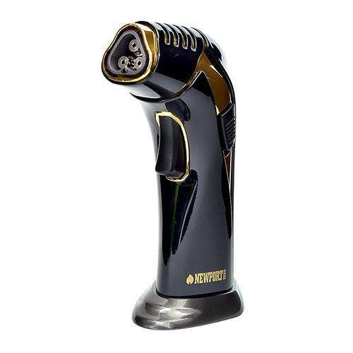 Newport Triple Flame Torch-Black - Gold Inside