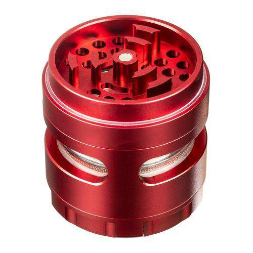 Red-Sweet Tooth 4-Piece Large Radial Teeth Aluminum Grinder