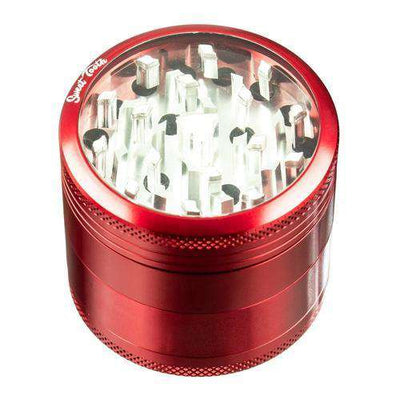 Red-Sweet Tooth 4-Piece Medium Diamond Teeth Aluminum Grinder