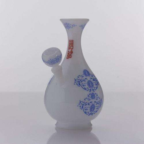 "The China Glass ""Huang Quin"" Dynasty Vase Water Pipe - Black With Blue Accents"