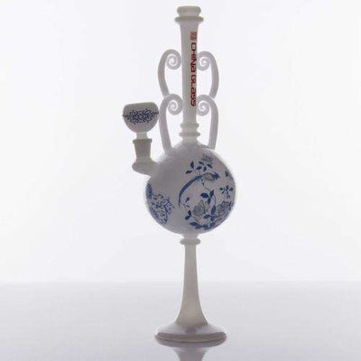 "The China Glass ""Ming"" Dynasty Vase Water Pipe - White With Blue Accents"