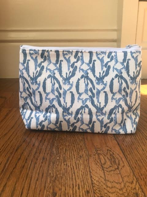 Cosmetic Bag - Denim Blue Graphic - Mudpie San Francisco