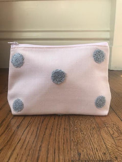 Cosmetic Bag - Soft Pink Grey Pom Pom - Mudpie San Francisco