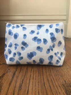 Cosmetic Bag - Blue Animal Print - Mudpie San Francisco